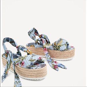 Zara tied floral espadrilles wedges
